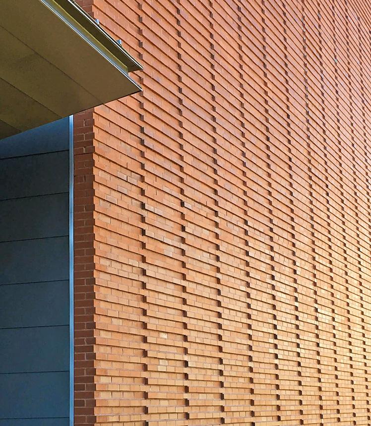 corbeled bricks on Billerica Memorial High School