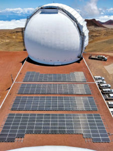 solar panels in front of Keck dome