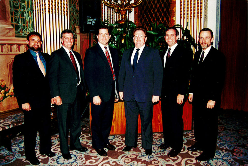 Don was RCI's first Certified Roof Consultant (later changed to Registered Roof Consultant). Among the first five RRCs honored at the 1988 convention were, left to right: Warren French, Don Bush, Jeffrey Evans, Sy Elakman, Dick Canon, and D.B. Hales. Not pictured, but among the first crop, were John Willers and Curt Liscum. Five of the eight were to become presidents of RCI.