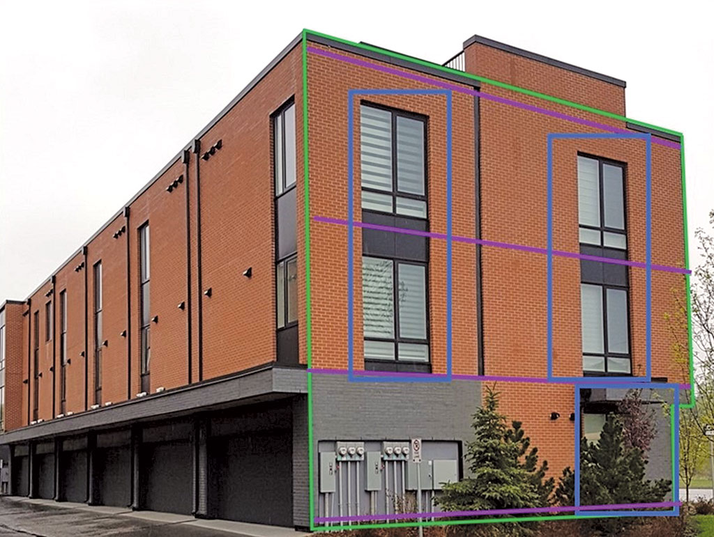 building with colored blocks drawn on it