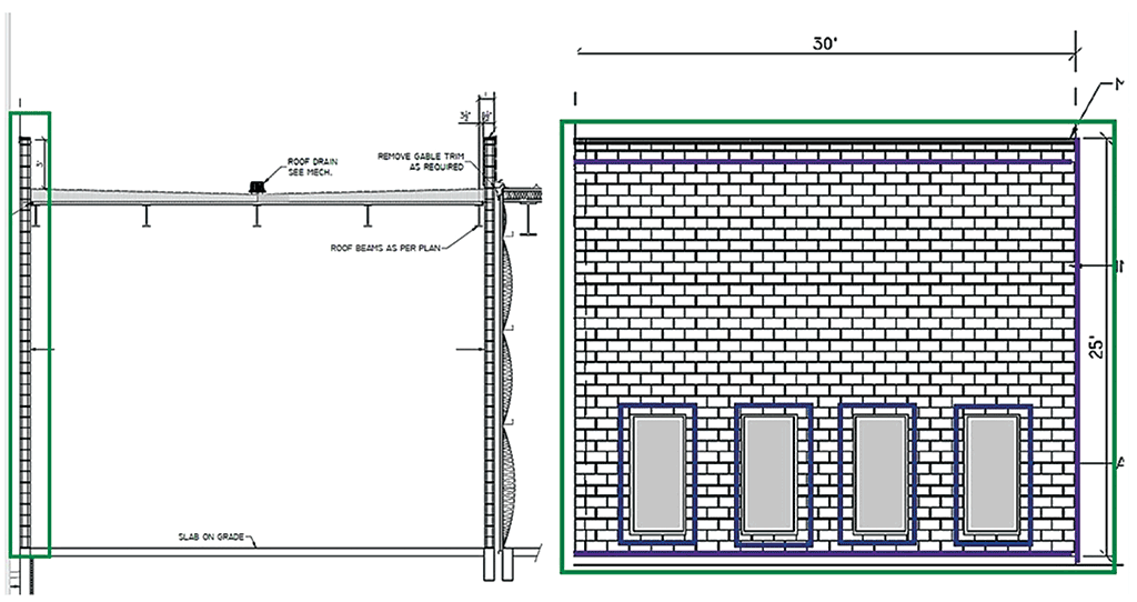 brick wall elevation drawing