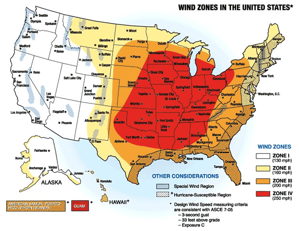 safe room wind speed map
