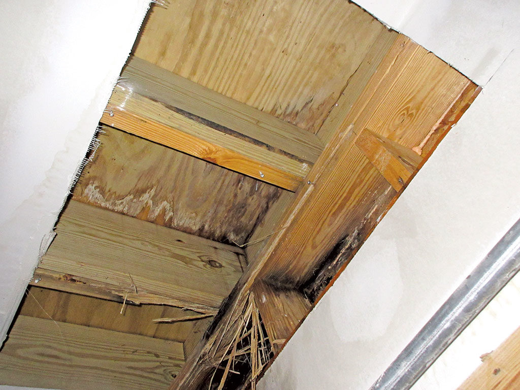 water-damaged balcony