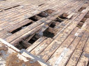 damaged wood deck