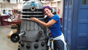 """Katey hugs a Dalek, from the science fiction TV show """"Doctor Who."""""""