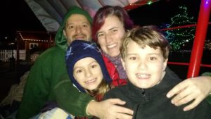 Katey and family on a hayride, Christmas 2015