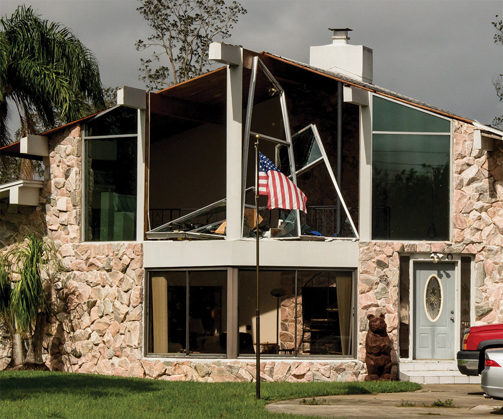 home with hurricane damage