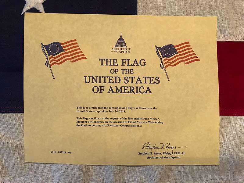 flag certification document