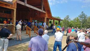 group gathered at lodge