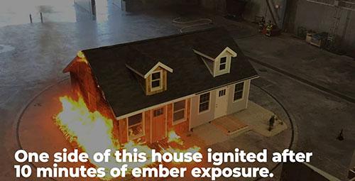 half a house on fire