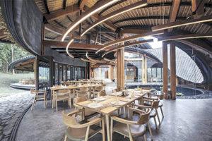 interior of bamboo pavilion