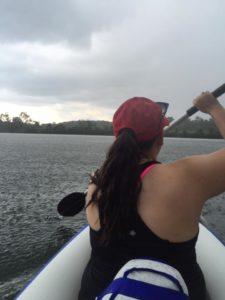 back of julie's head, paddling