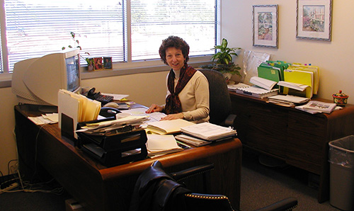micki at a desk